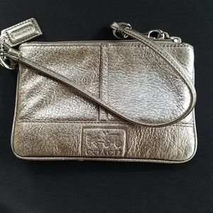 COACH Leather Wristlet (Pewter)